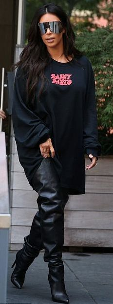 ** Balenciaga Black All Time Over The Knee Leather Thigh-High Boot: Kylie Jenner, Kim Kardashian **