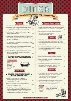 50 diner menu 1950 s style diner menu 50 s diners pinterest