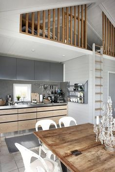 Great room open concept with loft. Love the vertical loft divider. Compact Living, Tiny Living, Living Rooms, Style At Home, Small Apartments, Small Spaces, Loft Spaces, Open Spaces, Home Fashion