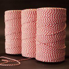 Katoen touw Naturel/rood - Katoen touw - kadopapier.net