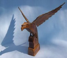 Large Hand Carved Majestic Wooden Eagle Statue Made by DayJahView