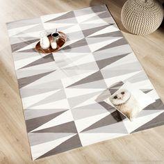 Tapis 100% coton tissé main losanges gris et beige KALMAR (marque : kaligrafik)