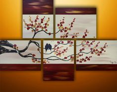 Pintura abstracta aves pintura arte abstracto pintura del | Etsy