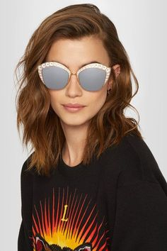 Gucci - Crystal-embellished Cat-eye Gold-tone Mirrored Sunglasses - one size