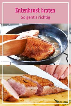 Entenbrust richtig braten – so geht's Duck breast is just on a classic among the meat dishes. Turkey Recipes, Snack Recipes, Snacks, Roasted Duck Breast, Duck Breast Recipe, How To Make Hamburgers, Plats Healthy, Roast Duck, Coq Au Vin