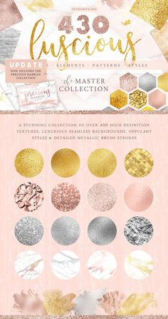 430 Textures Mega Bundle - A carefully curated collection of over 430   stunningly detailed textures, seamless backgrounds, styles & elements. Featuring a luxurious array of metallic & foil finishes, as well as opulent marbles, it has everything you need to add that   perfect touch of elegance to your next project. By Paper Lotus $15   #graphic #design #affiliatelink