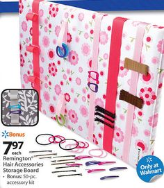 Remington Hair Accessories Storage Board.  I'm thinking this could be made with a pre-streched canvas, fabric and ribbon. Velcro for the ponytail holder loops right?  Would coordinate with room.