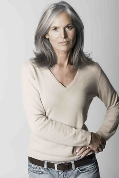"Ingrid Becker, looks fabulous for her age ~ one of the ""silver foxes"" I've decided to embrace my med.brown gray hair. And no longer worry about coloring for now, my hair is now healthier than its ever been and freeing from coloring every couple of months. CMS"