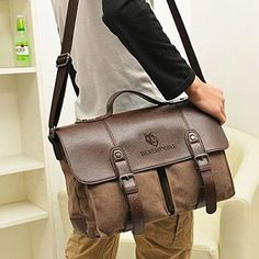 Desertwolf Canvas Pu Leather Vintage Cross Body Messenger Bag Briefcase Fit 13 3 Inch Laptop 2
