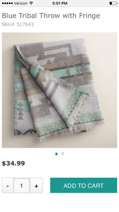 World Market Blue Tribal Throw with Fringe