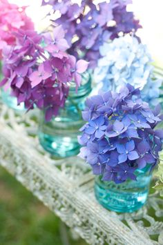 Multi-colored Hydrangea macrophylla blooms in vintage canning jars on iron outdoor table by Georgianna Lane