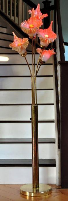 Art nouveau slag glass tiffany style floor lamp lamps pinterest gold finish metal base floor lamp with 5 flower shaped glass shades aloadofball Choice Image