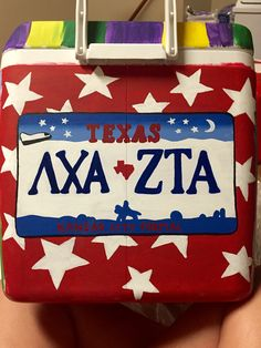 maybe with oil rig and rocket ship and htown things w/ stars in background Lambda Chi Alpha, Phi Mu, Delta Gamma, Nola Cooler, Painted Coolers, Cooler Painting, Frat Coolers, H Town, Oil Rig