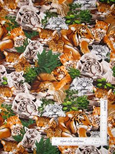 Animal Fabric - Sleeping Big Cats Lion Tiger Cat Timeless Treasures C3967 - Yard #TimelessTreasuresFabric Timeless Treasures Fabric, Cat Fabric, Big Cats, Lion, Yard, Sleep, Animals, Ebay, Animales