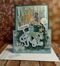 This double easel card is not at all difficult to make and it can be easily displayed by the recipient. Easel Cards, 3d Cards, Stampin Up Cards, Fun Fold Cards, Folded Cards, Ocean Texture, Octopus Card, Nautical Cards, Step Cards