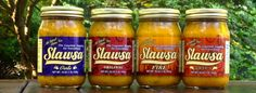 Slawsa - Healthier, more versatile and far more flavorful than traditional relishes, our primarily cabbage-based relish with addictive heat undertones, or slaw-salsa hybrid, is a condiment innovation like no other.  Slawsa is all-natural, fat-free, cholesterol-free, gluten-free, low in sodium, kosher and vegan.  Slawsa comes in Original, Spicy, Garlic and our new Habanero-Fire.