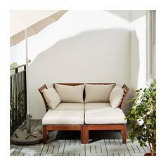 ÄPPLARÖ / HÅLLÖ 2-seat sofa w 2 footstools, outdoor - brown stained/beige - IKEA