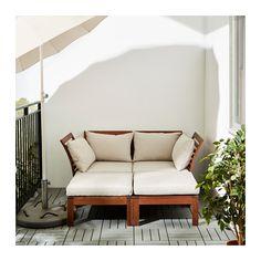 ÄPPLARÖ / HÅLLÖ 2-sits soffa m 2 fotpallar, utomhus, brun brunlaserad, beige brunlaserad/beige