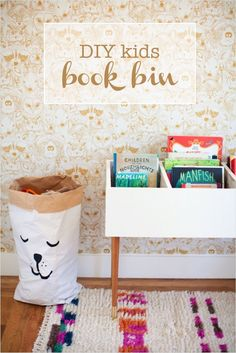 DIY book bin for little kids that makes it easy to browse through books...