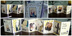 February 2015 Paper Pumpkin kit Alternate project; accordion-style mini photo album Used stamp set from Layers of Gratitude, combined with Moonlight designer series paper from Stampin' Up. I added a ribbon under the mat for the front page to tie the album closed.