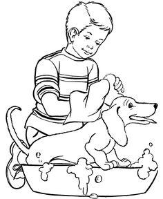 Happy Dog Bath - Dog Coloring
