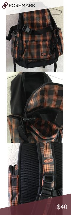 VANS off the wall Backpack Black with orange plaid accents. Gently preloved, outer front and side pockets. Inner pocket for laptop. Velcro closure, waist band buckles. NO TRADES Vans Bags Backpacks