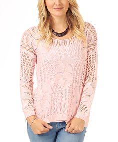 Pink Open Knit Scoop Neck Sweater - Women | zulily