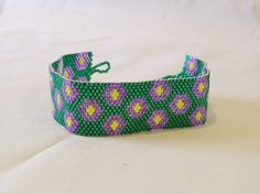 Handwoven Green with Violet Flowers Peyote by Misteltoeholler, $60.00