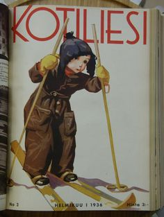 Kotiliesi Magazine cover by Martta Wendelin, Finland Finnish Women, Old Commercials, Magazine Illustration, Antique Prints, Vintage Postcards, Martini, Finland, Album Covers, Scandinavian