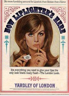 1965 ad for Yardley lipstick featuring model Jean Shrimpton