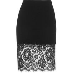 TOPSHOP Deep Lace Hem Bodycon Skirt ($48) ❤ liked on Polyvore featuring skirts, topshop, black, black skirt, body con skirt, black bodycon skirt, bodycon skirt and lacy skirt