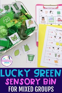 Need an activity to cover mixed groups for St. Patrick's Day? Go around your speech room and find your green toys and items. Throw them in a sensory bin and now you have the perfect speech and language sensory bin. Use this lucky green sensory bin to target grammar, vocabulary, describing, and articulation and phonology. Preschool Speech Therapy, Speech Therapy Activities, Speech Language Pathology, Speech And Language, March Lesson Plans, Prepositional Phrases, Green Toys, Speech Room, Special Education Classroom