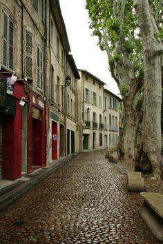 cobblestone in Avignon, France