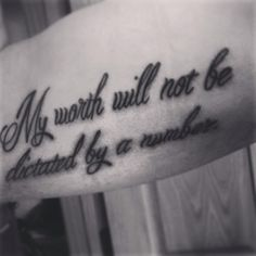 """Type 1 diabetes tattoo """"My worth will not be dictated by a number"""""""