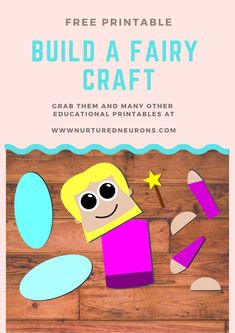 Build a fairy - a super simple craft for you kids! Perfect for toddlers and preschoolers or anyone having a fairy themed party! Free Preschool, Toddler Preschool, Toddler Crafts, Kindergarten Activities, Activities For Kids, Fairy Templates, Fairy Crafts, Craft Free, Super Simple
