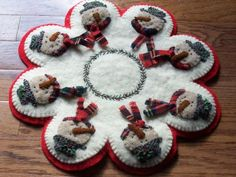 cute snowman penny rug