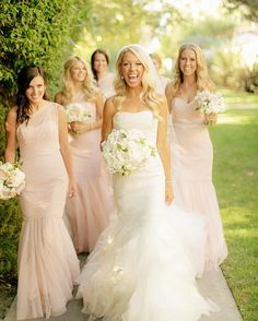Beautiful bride in Vera Wang Gemma wedding dress and bridesmaids in blush pink Chard Photography