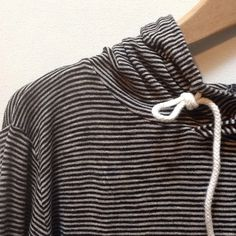 """J. Crew Stripe Hoodie Top Jersey material hooded top.  Fine stripes. Greatly loved  No evidence of stains or holes.  Pit to pit measures approx 23"""". Sleeve length approx 23.5. Shoulders to hem approx 24"""". 🌸 J. Crew Tops"""