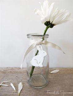 Floral bunny rabbit clay tags—cute❣ French & Sparrow • madeit.com.au