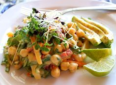Garbanzo Bean Salad With Mexican Mango Dressing: Ingredients: -3 cups cooked garbanzo beans (a.k.a. chickpeas) (about 2 cans) -1 red bell pepper -3 carrots -½ large jicima root (or any crunchy veg) -1 cup chopped spinach -½ cup cilantro