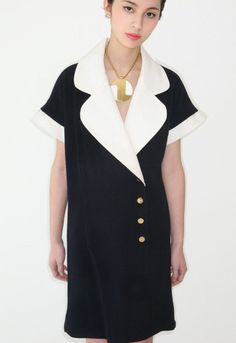 Adorable vintage 1980's CHANEL nautical sailor jersey knit mini dress from Cara Mia Vintage