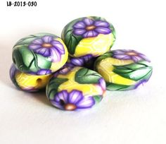 Purple Flower Beads on Yellow Polymer Clay Flat Handmade Green Leaves   bluemorningexpressions - Jewelry Supplies on Art
