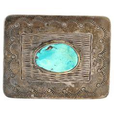 Navajo Silver Turquoise Belt Buckle