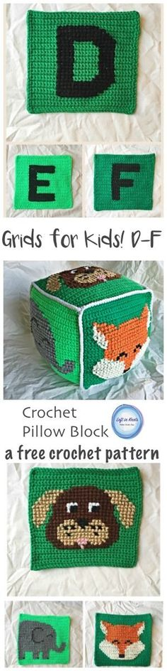A free crochet pattern for a simple project combining basic crochet and cross stitch techniques. D is for dog, E is for elephant, F is for fox. These squares can be combined to make a baby blanket or a stuffed pillow block perfect for any baby gift!  A video tutorial is included