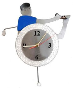Golfer in Action Wall Clock