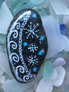 Rock Art- Moon & Stars Design Painted on a Sea Stone