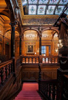 """The staircase and ornate skylight of William Waldorf Astor's London neo-Gothic mansion known as """"Two Temple Place."""""""