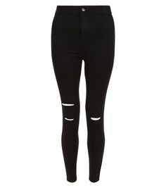 Black Ripped Knee High Waist Super Skinny Jeans   New Look