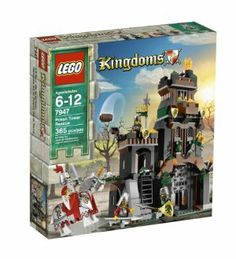LEGO Kingdoms Prison Tower Rescue 7947 by LEGO. $95.99. 365 LEGO pieces. Weapons include catapult and cauldrons. Set includes 5 minifigures:  2 Dragon Knight soldiers, 1 King's Knight on white horse, 1 King's soldier and 1 princess. Rescue the princess from the evil Dragon Knights. Tower accessories include wind-up front gate, hidden stairs and ladders, tower prison and treasure chest. From the Manufacturer                The Dragon Knights have captured the fair princess and loc...