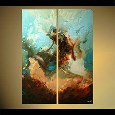 Riesige abstrakte Malerei moderne blau braun von OsnatFineArt